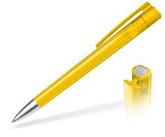 Werbekugelschreiber in transparent Gelb, mit Ihrem Logo bedruckt. Hochwertiges Schreibgerät der Marke burger swiss pen. Bedruckter Werbeartikel mit Ihrem CI.