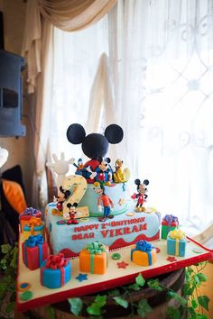 Cake from a Mickey Mouse Clubhouse Themed Birthday Party via Kara's Party Ideas | KarasPartyIdeas.com (14)