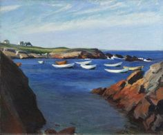 Edward Hopper, The Dories at Ogunquit, An oil by Hopper painted on what would become the grounds of the Ogunquit Museum of American Art. In the Whitney Museum of American Art, New York American Realism, American Artists, Manet, Ogunquit Beach, Edward Hopper Paintings, Georges Seurat, Robert Rauschenberg, Whitney Museum, David Hockney