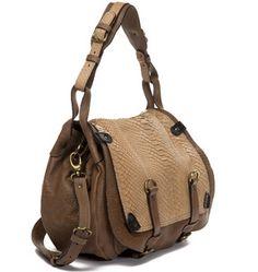Abaco Paris casual vintage inspired messenger bag with a gorgeous python trimming. Available for pre-order at Bonfair.com. #bonfaire
