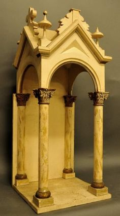 -Painted Wood and Gesso Altar Shrine : Lot 379