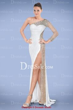 Voluptuous One-shoulder Sheath Prom Gown Featuring Sheer Beaded Mesh Panel  and Sexy Slit Mesh 5d80e1d15