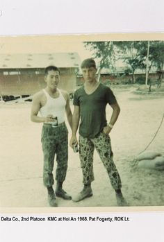 Delta Co., 2nd platoon KMC at Hoi An, 1968. Pat Fogerty and unknown ROK LT.