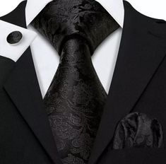 Men's Coordinated Silk Tie Set - Solid Black Paisley – Uylee's Boutique