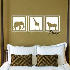 African Safari nursery wall stickers | Safari Squares Decal - Vinyl decal - Elephant- Giraffe - Lion - camel ...