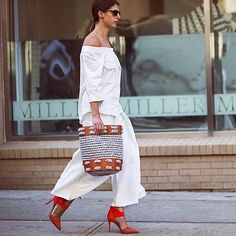 """""""Bardot off-the-shoulder #style tops continue to reign as the silhouette to be seen in. Pull your look together and add coordinating shades. #NYFW #OOTD…"""""""