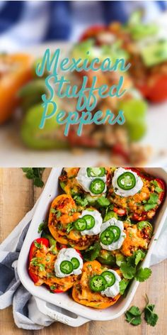 These easy, healthy Mexican Stuffed Peppers are filling, absolutely delicious and great for meal prep too. Colorful bell peppers stuffed with authentic Mexican spiced chicken or beef, rice, and cheese Stuffed Bell Peppers Turkey, Stuffed Peppers With Rice, Vegetarian Stuffed Peppers, Mexican Stuffed Peppers, Low Carb Stuffed Peppers, Mexican Breakfast Recipes, Rice Recipes For Dinner, Mexican Food Recipes, Beef Recipes