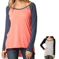 Fox Racing Fireside Women's Ladies Casual Long Sleeve Shirt Raglan Top
