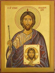 Święty Juda Tadeusz Celestial, Folk Art, Tatting, Saints, Spirituality, Baseball Cards, Saint Jude, Image, Holy Quotes