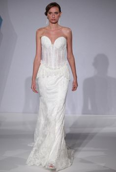 Mark Zunino for Kleinfeld - Spring 2013. Strapless lace sheath wedding dress with a sweetheart neckline, illusion midriff, and a modified peplum waist, Mark Zunino for Kleinfeld