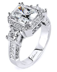 18k white gold engagement ring with 3-stone setting   Supreme Jewelry SJ4970   http://knot.ly/6498BheWG