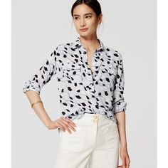 LOFT Vine Utility Blouse (16.835 HUF) ❤ liked on Polyvore featuring tops, blouses, frozen blue, blue blouse, long sleeve tops, button blouse, blue top and collar blouse