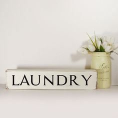 Laundry Block Sign Hand Painted Wooden Block by DillweedDesigns