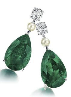 Emerald, Diamond and Natural Pearl Ear Pendants  Each suspending a pear-shaped emerald, weighing approximately 18.98 and 16.75 carats, from a pearl to the old-mine and cushion-cut diamond surmount, each weighing approximately 2.00 carats, mounted in platinum