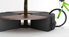 Mobiliario urbano. Protector de árboles, banco y aparcabicis. Tres en uno de Lab23