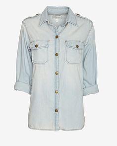 $198, Light Blue Denim Shirt: Current/Elliott Perfect Denim Shirt Light Wash. Sold by Intermix. Click for more info: https://lookastic.com/women/shop_items/154857/redirect