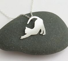 Cat Necklace stretching Cat Pendant by DaliaShamirJewelry on Etsy