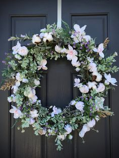 Spring Wreath White Spring Door Wreath Wedding Wreath White Floral Wreath Mothers Day Gift New Home Housewarming Gift Spring Decor Spring Door Wreaths, White Springs, Lavender Buds, Wedding Wreaths, New Home Gifts, Grapevine Wreath, Grape Vines, White Flowers, House Warming