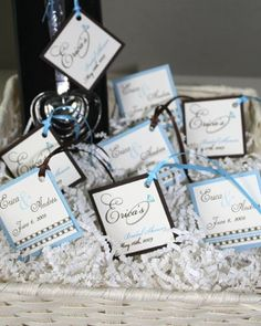 Stationery - Favor Tags - Brown and Light Blue