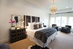 Meurice chandelier blends with the bedside lights.  Could get this shape of shade for the sconces on elevation 4.