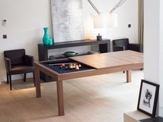 It Slices, It Dices: Fusion Dining/Pool Table Combo : TreeHugger Dining Room Pool Table, Dining Table Design, Pool Tables, Dining Tables, Dream Home Design, House Design, Modern Furniture, Furniture Design, Convertible Table