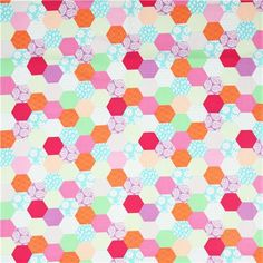 colourful honeycomb pattern patchwork fabric Michael Miller - Dots, Stripes, Checker - Fabric - kawaii shop modeS4u