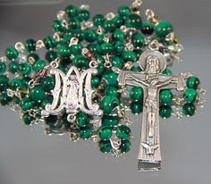 Catholic Malachite Rosary by AnnSennottCreations on Etsy