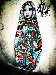 Street art by Hush Graffiti Art, Murals Street Art, Grafitti Street, Berlin Graffiti, Art Amour, Art Environnemental, L'art Du Portrait, Urbane Kunst, Amazing Street Art