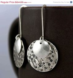 ON SALE Geometric Silver Earrings, Circular, Stamped
