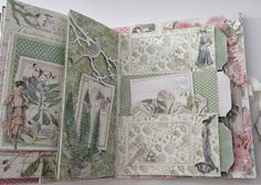 Art journal inspiration. Graphic45 Botanical Tea scrapbooking Envelope Mini Album with Flaps By Anne Rostad