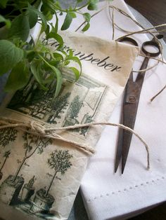 Herbs, linen, twine, scissors and cute paper bag with topiary's printed on it!