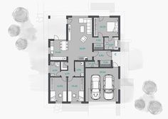 Luxusný bungalov projekt - dobro | aphaus.sk Home Building Design, Building A House, Planer, My House, Floor Plans, Houses, Gardens, Home, Dream Home Plans