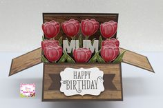 Stampin up Tranquil Tulips hostess sneak peek 2017 - 2018 catalog card in a box card i made, i also used stampin up Happy birthday gorgeous stampset & Wood textures Dsp