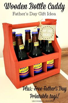 """Fabulous Father's Day Gift Idea... a Wooden Bottle Caddy with free Printable """"My Dad Rocks"""" tags! www.uncommondesignsonline.com"""