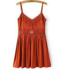 Cami Straps Lace Crochet Pleated Dress ($31) ❤ liked on Polyvore featuring dresses, orange, orange lace dress, red lace camisole, sexy dresses, red cami and red camisole