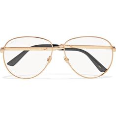 9d4ecc47d4 Gucci Aviator-style gold-tone optical glasses ( 445) ❤ liked on Polyvore
