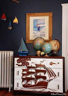 A great wood cut could be painted onto the front of an old dresser to make a bold statement! Love @caseyhinton