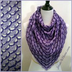 This triangular shawl free crochet pattern gets its name from the bloom shaped cluster of stitches used in the pattern, and from the color of the yarn used.