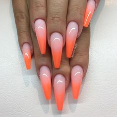 """Ombre med Frosted Pink och """"Neon Orange"""" från #lillynails"""