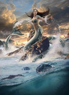 Thoughts of a mermaid. Calypso - Goddess of the Sea - Mermaid by KimontheRocks Dark Fantasy Art, Fantasy Girl, Fantasy Artwork, Mermaid Artwork, Mermaid Drawings, Fantasy Mermaids, Mermaids And Mermen, Fantasy Creatures, Mythical Creatures