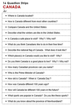 Free printable PDF lesson plans, word banks, quizzes and games-Canada Canada For Kids, All About Canada, Canada Eh, Toronto Canada, Canadian Facts, Canadian Things, Canadian History, English Grammar For Kids, Teaching English