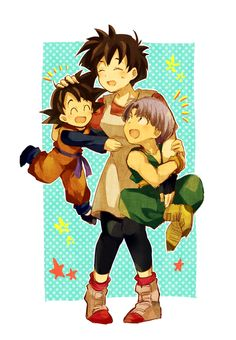 Videl, Goten, and Trunks. Headcanon that she babysits them on date nights