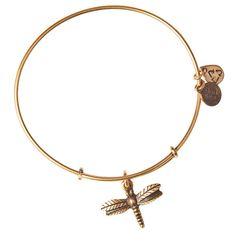Alex and Ani Dragonfly Expandable Wire Bangle - Russian Gold ($28) ❤ liked on Polyvore