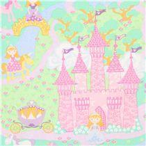 pink Timeless Treasures princess fairy tale castle fabric - Fairy Tale Fabric - Fabric