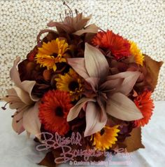 Tiger Lily Hydrangea Bouquet. Hand Made Custom Wedding Accessories - Blissful Bouquets™ by Edy & Custom Wedding Accessories