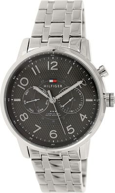 Tommy Hilfiger Men's 1791086 Analog Display Quartz Silver Watch -- Details can be found by clicking on the image. Tommy Hilfiger Watches, Omega Watch, Quartz, Display, Accessories, Image Link, Silver, Stretch Bracelets, Automatic Watch