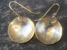 Handmade Brass Earrings with Dark Patina by YMBlueOriginals, $25.00