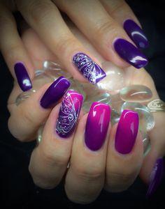 Gel, Thermo ColorGel Cold Purple, Warm Pink & Silver Butterfly Filigree  www.wickednails.nl https://www.facebook.com/wickednails.nl
