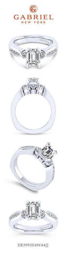 Gabriel - 14k White Gold Emerald Cut 3 Stones Engagement Ring.