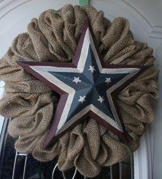 Outdoor Rustic Burlap Wreath w/ Americana by WhirlwindCreation, $35.00